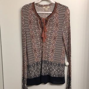 Vintage America Boho Tunic with embroidered neck